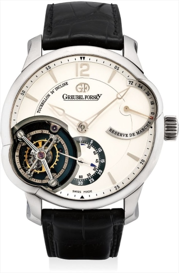 An impressive, extremely fine and very rare white gold 24 seconds inclined tourbillon wristwatch with 72 hour power reserve, original certificate and fitted presentation box