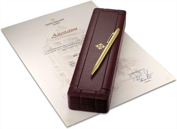 A fine and possibly unique yellow gold ballpoint pen with Attestation and fitted presentation box