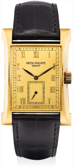 A fine and rare yellow gold limited edition rectangular wristwatch, made to commemorate the opening of Patek Philippe's watchmaking centre in Geneva in 1997