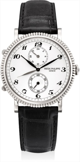 A fine white gold dual time wristwatch with 24 hours and Breguet numerals
