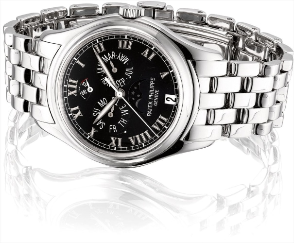 A fine white gold annual calendar wristwatch with sweep centre seconds, moon phases, power reserve and bracelet