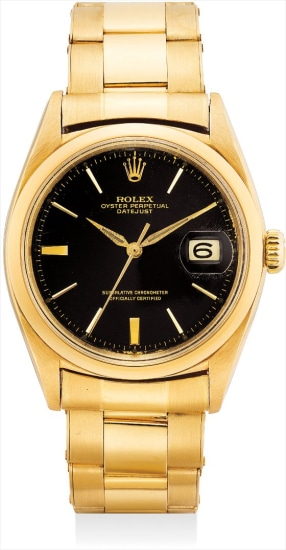A fine and rare yellow gold wristwatch with sweep centre seconds, date, black lacquer dial and bracelet