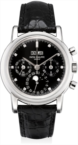 A fine and rare platinum and diamond-set perpetual calendar chronograph wristwatch with moon phases, 24 hours, leap year indicator, additional case back, original certificate and fitted presentation box