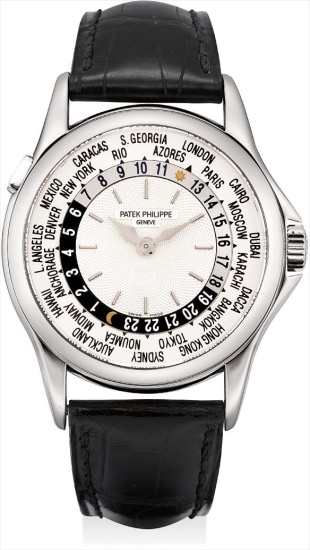 A fine and rare white gold worldtime wristwatch