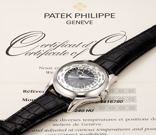A fine and rare platinum worldtime wristwatch