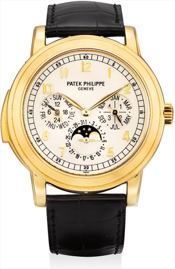 A very fine and very rare yellow gold minute repeating perpetual calendar wristwatch with moon phases, 24 hours, leap year indicator, additional case back, original certificate and fitted presentation box