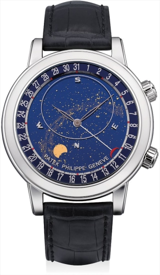 A fine and rare platinum astronomical wristwatch with sky chart, phases and orbit of the moon and time of Meridian Passage of Sirius and of the Moon, date, original certificate and fitted presentation box