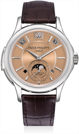 A very fine and extremely rare platinum minute repeating instantaneous perpetual calendar tourbillon wristwatch with leap year indicator, day and night display, moon phases, additional case back, original certificate and fitted presentation box