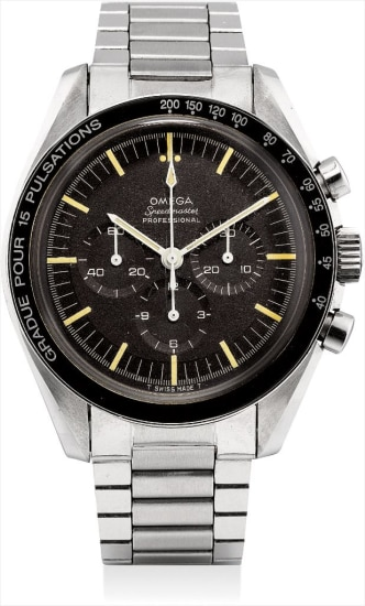 A very rare stainless steel chronograph wristwatch with bracelet and pulsation