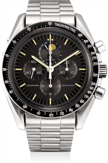 A rare stainless steel chronograph wristwatch with date, moonphases and bracelet