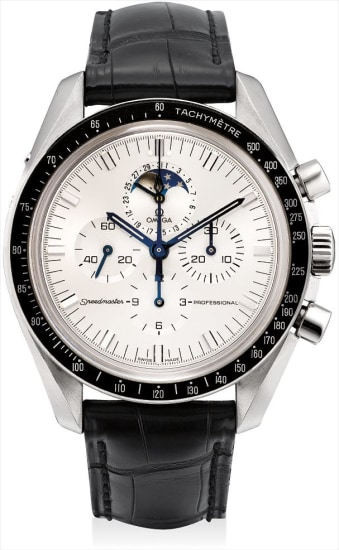 A fine and rare white gold chronograph wristwatch with date and moonphases