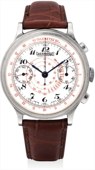 A fine, rare and large stainless steel single-button chronograph wristwatch with enamel dial and locking mechanism