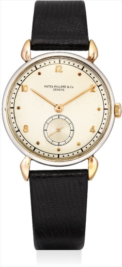 A fine and rare pink gold and stainless steel wristwatch with tear-drop lugs and two-tone dial