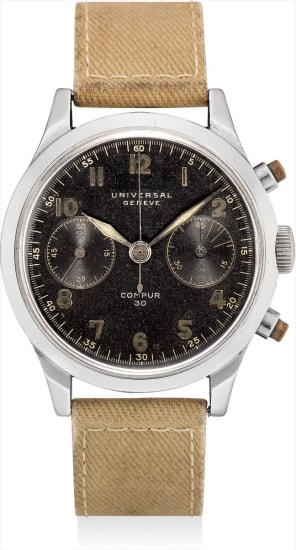 A rare stainless steel military chronograph wristwatch