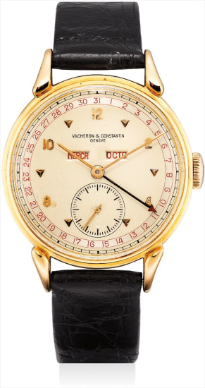 A fine and very rare pink gold triple calendar wristwatch with two-tone dial and tear-drop lugs