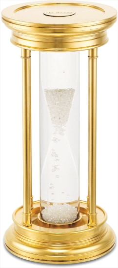 A rare 24k gold plated brass and diamond-set hour glass timer with illuminated stand and fitted presentation box