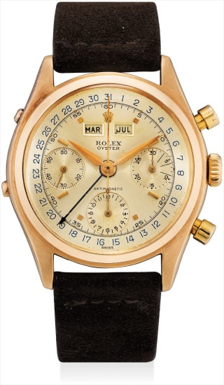 A fine and rare pink gold triple calendar chronograph wristwatch with fitted presentation box