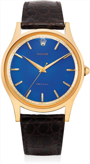 An exceptional, large and very rare pink gold wristwatch with sweep centre seconds and blue enamel dial