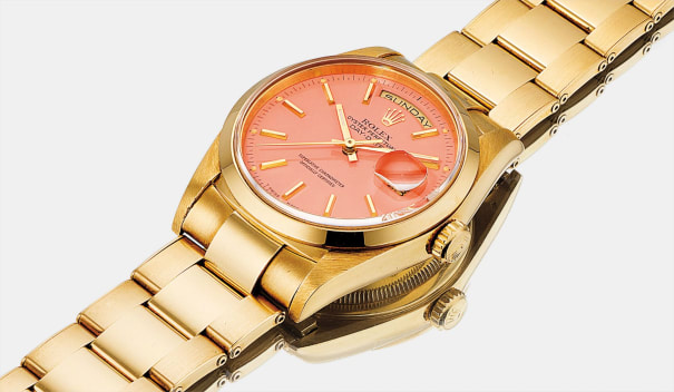 A fine and rare yellow gold calendar wristwatch with sweep centre seconds, candy lacquer 'Stella' dial and bracelet