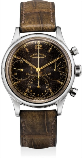 A very fine and rare stainless steel chronograph wristwatch with black lacquer dial