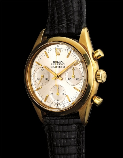 A fine, extremely rare and possibly unique 14k yellow gold chronograph wristwatch, retailed by Cartier with Cartier certificate