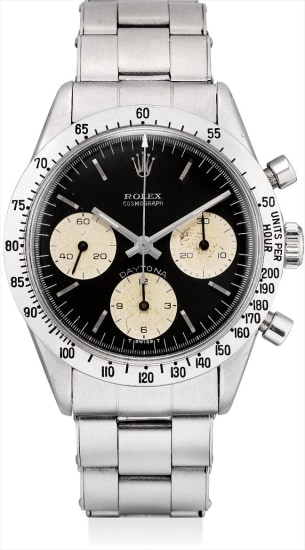 A very rare and attractive stainless steel chronograph wristwatch with original expandable bracelet