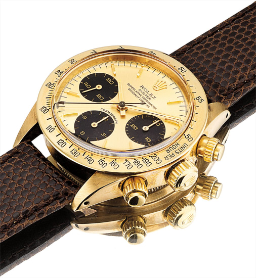 A fine and rare 14k yellow gold chronograph wristwatch