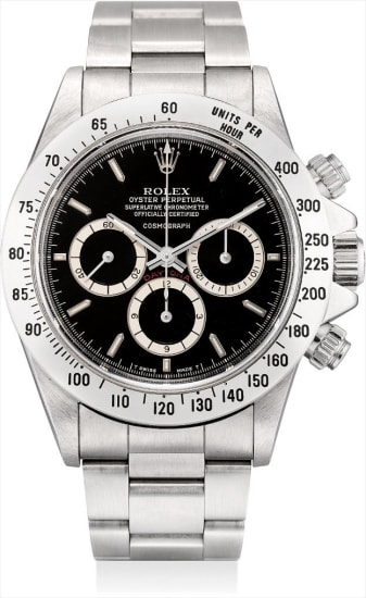 A rare stainless steel chronograph wristwatch with suspended logo and bracelet