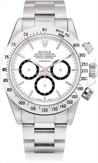 A fine and rare stainless steel chronograph wristwatch with suspended logo and bracelet