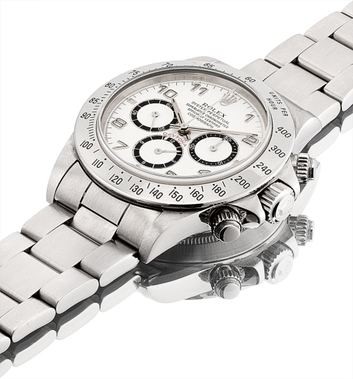 A fine and extremely rare stainless steel chronograph wristwatch with Arabic numerals and bracelet
