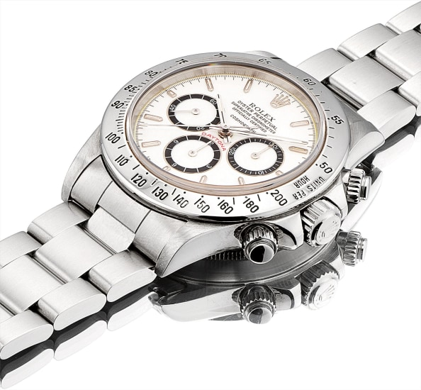 A fine and rare stainless steel chronograph wristwatch with suspended logo, porcelain dial and bracelet
