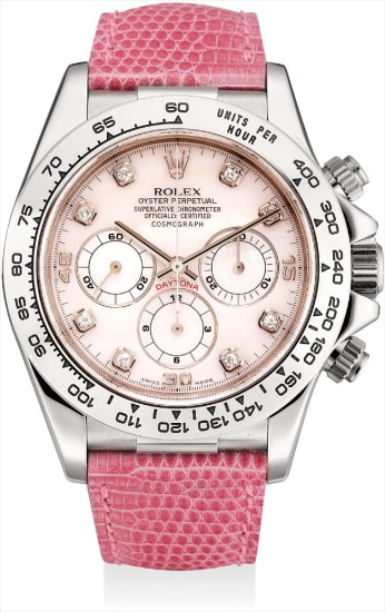 A fine and rare white gold and diamond-set chronograph wristwatch with pink mother-of-pearl dial and guarantee