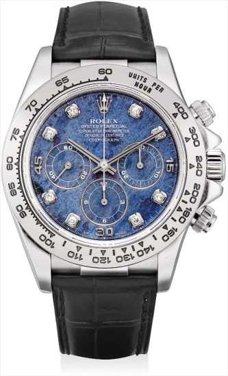A fine and rare white gold and diamond-set chronograph wristwatch with sodalite hardstone dial