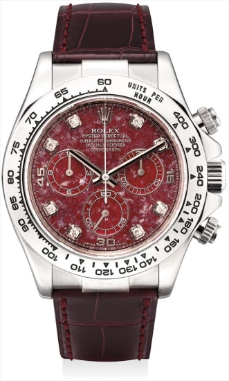 A fine and rare white gold and diamond-set chronograph wristwatch with grossular garnet rubellite hardstone dial