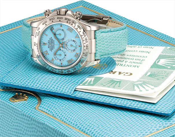 A fine and rare white gold chronograph wristwatch with turquoise dial, guarantee and fitted presentation box