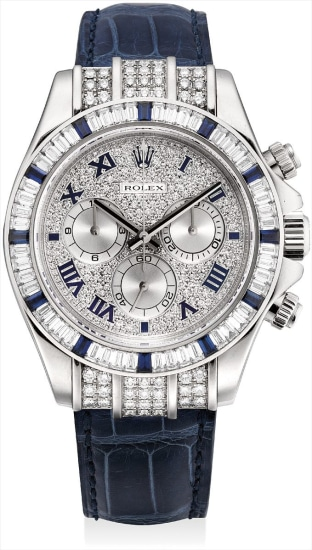 A fine and very rare white gold, diamond and sapphire-set chronograph wristwatch