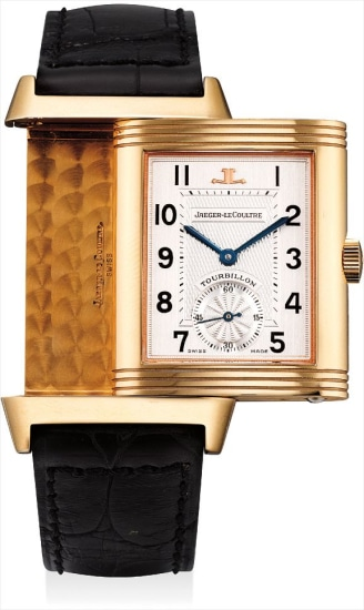 A very fine and rare pink gold limited edition reversible tourbillon rectangular wristwatch with power reserve, made to commemorate the 60th anniversary of the Reverso collection