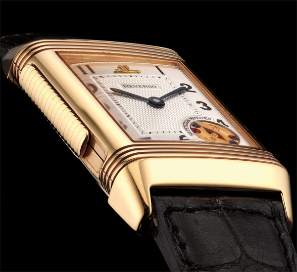 A very fine and rare pink gold limited edition minute repeating rectangular reversible wristwatch