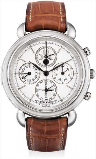 A fine and very rare platinum minute repeating perpetual calendar chronograph wristwatch with moon phases, leap year indicator and 52 week register
