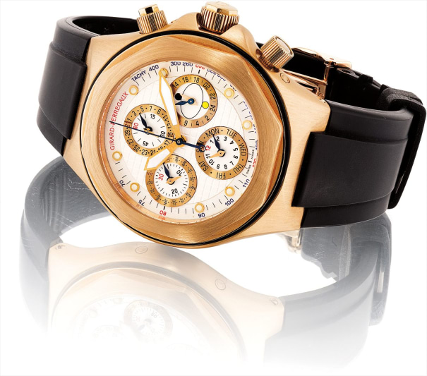 A fine pink gold perpetual calendar chronograph wristwatch with day of the week, 24 hours and day and night indicator