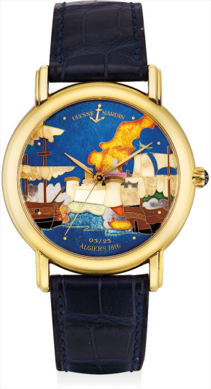 A fine and rare yellow gold limited edition wristwatch with sweep centre seconds and cloisonné enamel dial