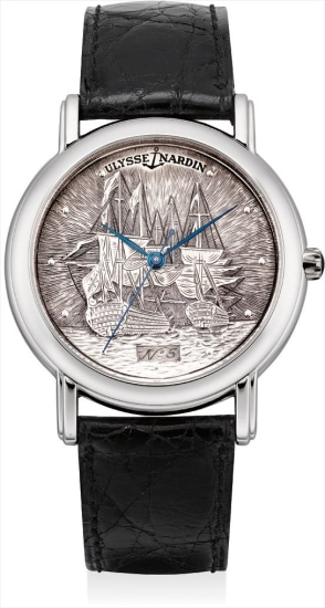 A fine and rare platinum wristwatch with sweep centre seconds and engraved dial