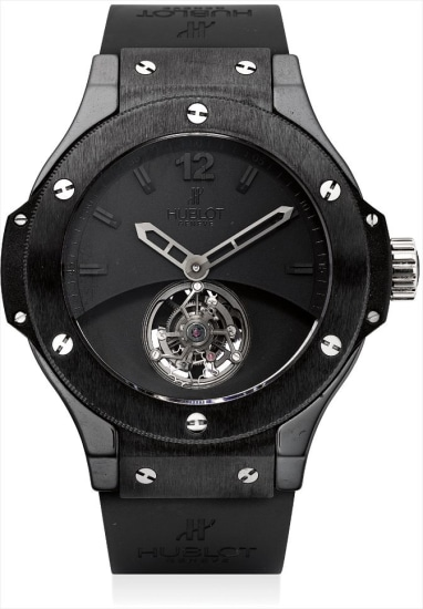 A fine and rare black ceramic limited edition tourbillon wristwatch