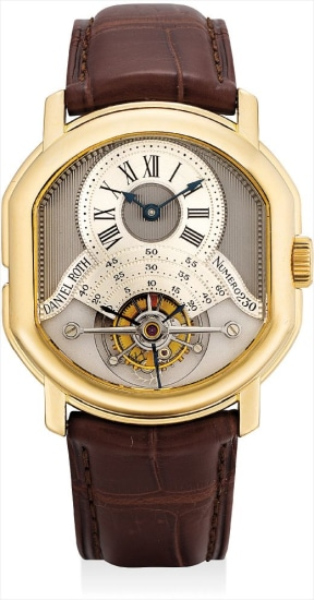 A very fine and rare yellow gold tonneau-shaped double-dialed tourbillon wristwatch with date and power reserve