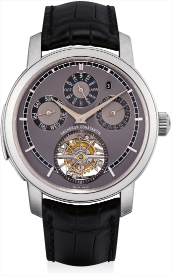 An extremely fine and very rare platinum minute repeating perpetual calendar tourbillon wristwatch
