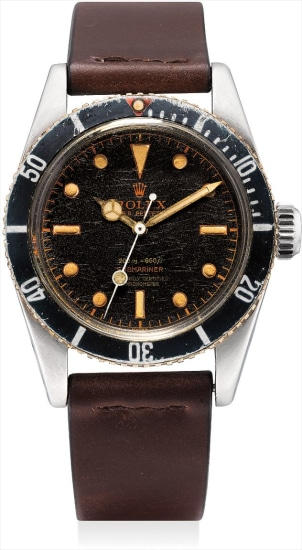 A very fine and very rare stainless steel wristwatch with sweep centre seconds, black lacquer dial and big crown
