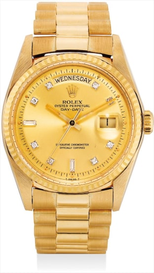 A fine and rare yellow gold and diamond-set calendar wristwatch with sweep centre seconds, bracelet and champagne dial