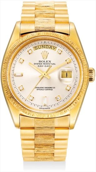 A fine and rare yellow gold and diamond-set calendar wristwatch with sweep centre seconds and bracelet