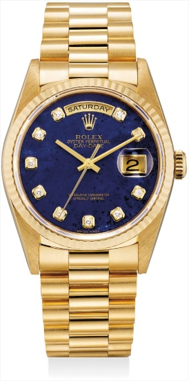 A fine and very rare yellow gold and diamond-set calendar wristwatch with sweep centre seconds, lapis lazuli dial and bracelet