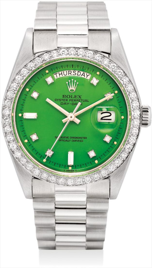 A very fine and rare white gold and diamond-set calendar wristwatch with sweep centre seconds, apple green lacquer 'Stella' dial and bracelet
